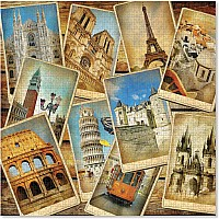 1,000 pc Postcards from Europe Cardboard Jigsaw Puzzle