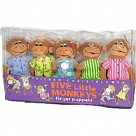 MerryMakers FIVE LITTLE MONKEYS FINGER Puppet Playset