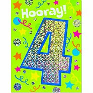 Age 4 Foil Gift Enclosure Card