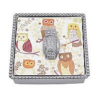 Mariposa Owl Beaded Napkin Box