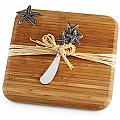 Mud Pie 10375 Starfish Bamboo Serving Board Set, Brown