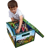 Neat-Oh! ZipBin 160 Dinosaur Collector Toy Box & Play set w/2 dinosaurs