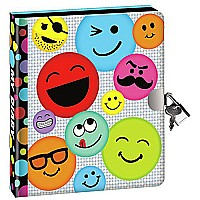 Peaceable Kingdom Funny Face Emoji Lock and Key Diary with Silver Pen