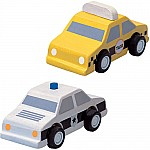 City Taxi and Police Car