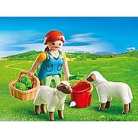 4765 Country Woman With Sheep Feed