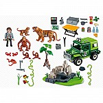 Jungle Animals With Researcher and Off-road Vehicle