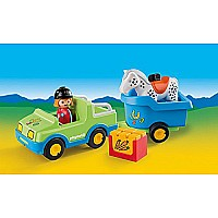 PLAYMOBIL Car with Horse Trailer Building Kit