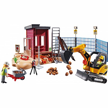 Mini Excavator With Building Section
