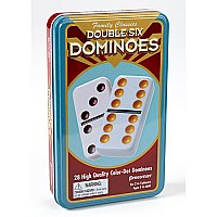 Double Six Color Dominoes In Tin