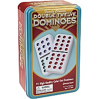 Double Twelve Color Dominoes In Tin