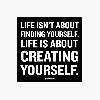 Creating Yourself Black and White Magnet
