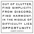 Out Of Clutter Find Simplicity - Albert Einstein Black and White Magnet