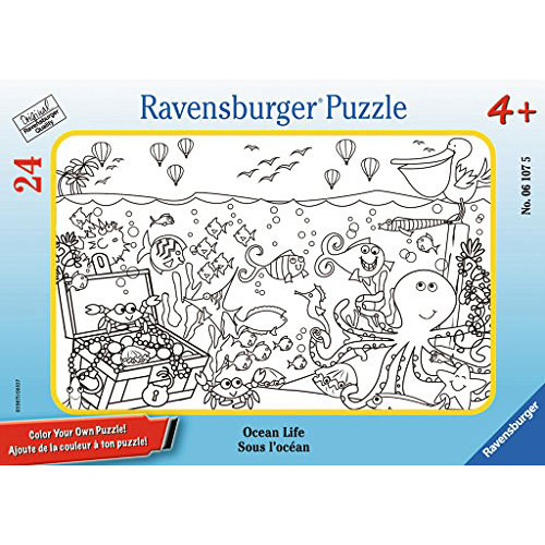 Ocean Life Color Your Own 24 Piece Frame Puzzle Givens Books And