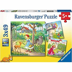 3x49 pc Rapunzel, Red Riding Hood, Frog King