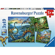 RAVENSBUGER 3X49 pc Puzzle -DINOSAUR FASCINATION