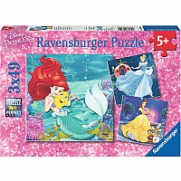 49 Piece Disney Princesses Adventure x3 Puzzles