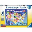 100 Piece Puzzle, USA State Map