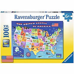 100pc Puzzle - USA State Map