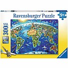 300 Piece Puzzle, World Landmarks Map