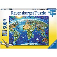 300 pc World Landmarks Map
