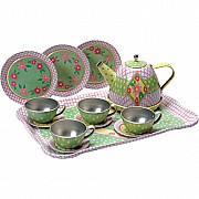 Tea Set Tin Green Pink