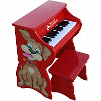 25 Key Dog Piano with Bench in Red