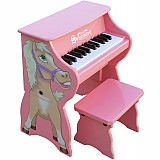 25 Key Horse Piano with Bench in Pink