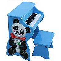 25 Key Panda Bear Piano with Bench in Blue