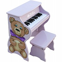 25 Key Teddy Bear Piano with Bench in Lavender