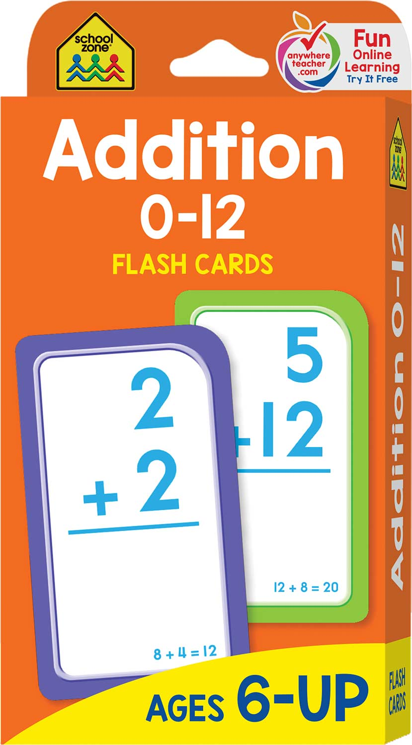 1st and 2nd grade - addition 0-12 flash cards