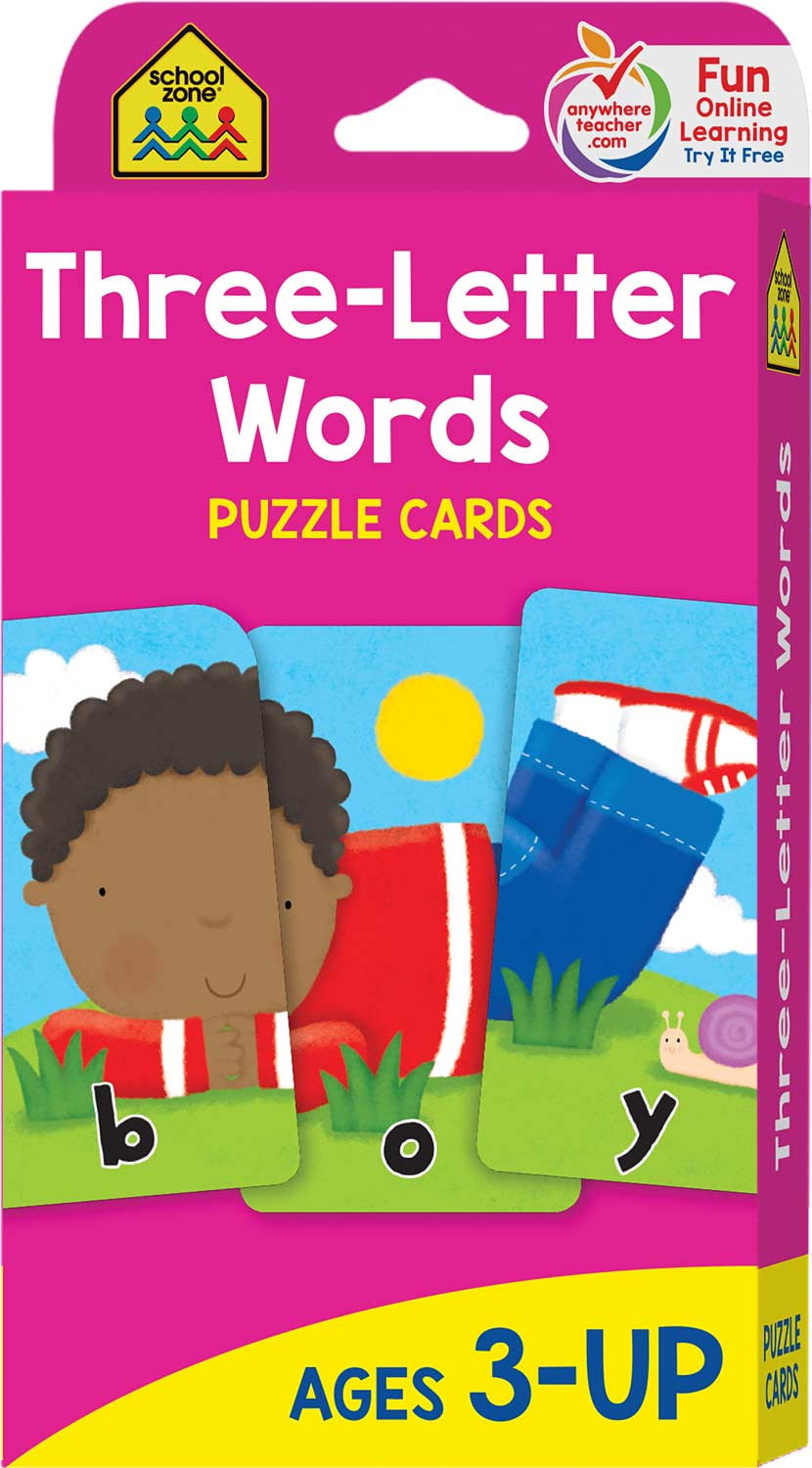Three-Letter Words Puzzle Cards - Kool & Child