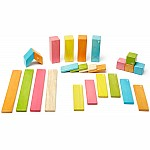 24pc Magnetic Wood Building Set - Tints
