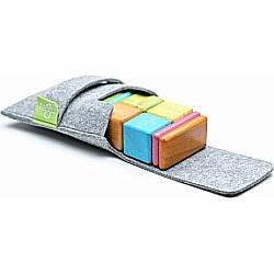 8 Piece Tegu Pocket Pouch Magnetic Wooden Block Set, Tints