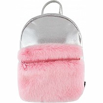 Silver Shimmer Mini Backpack with Faux Fur Pocket