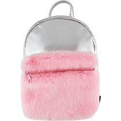 Fashion Angels Silver Shimmer Backpack with Faux Fur Pocket