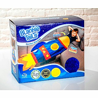 Blue Rocket Ship Blankie Tail