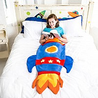 Blue Rocket Ship Blankie Tail - Kid