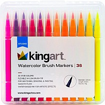 KINGART™ Watercolor Brush Tip Markers, Set of 36