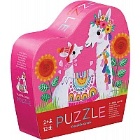 Mini Puzzle 12pc - Llama Love