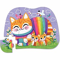 Mini Puzzle 12pc - Cuddly Cat