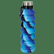 Blue and Black Tie Dye Silicone Collapsible Water Bottle