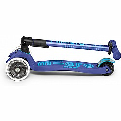 Micro Kickboard Maxi Deluxe Foldable LED - Navy Blue