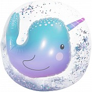 3D Narwhal Confetti Beach Ball