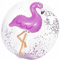 3D Flamingo Confetti Beach Ball