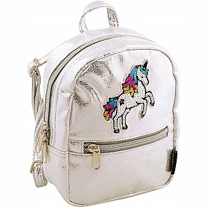 Fashion Angels Silver Shimmer Unicorn Micro-Mini Backpack