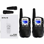 Retevis RT388 2 pcs Kids Walkie Talkies with Flashlight - Black