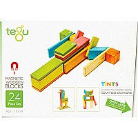 Tegu Magnetic Wooden Blocks 24 pc Tints Set
