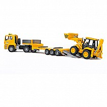 Bruder MAN TGA Low Loader Truck With JCB Backhoe Loader