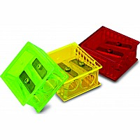 2 Hole Square Sharpener w/ Slide Over Cover - Assorted Colors (60 ct. Bucket)