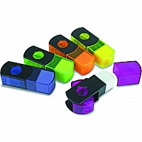 2' N 1 Sharpener with Flip to Eraser - Assorted Colours, sold individually